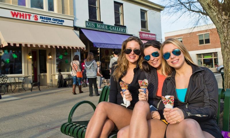Girls eating Whit's in Granville