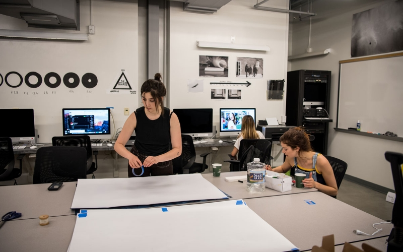 Students working in the photography classroom