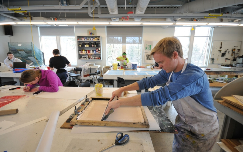 Students working in print shop