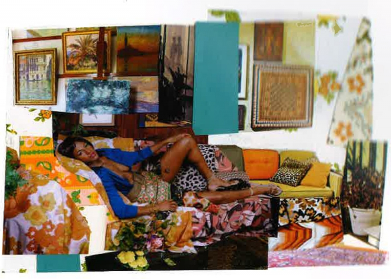 Mickalene Thomas, Tamika sur une chaise longue avec Monet, 2011, Mixed media collage, 7.25x10.5 in, Courtesy of Hedy Fischer and Randy Shull