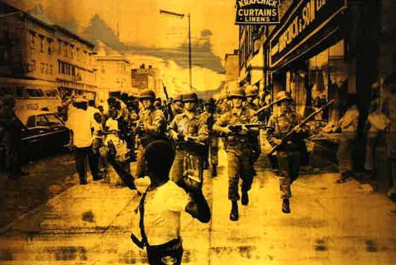 Hank Willis Thomas, Public Enemy (II), 2016, screenprint on retroreflective vinyl, mounted on dibond, 48x71in, Courtesy of Hedy Fischer and Randy Shull