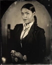 Will Wilson, Michelle Cook, Citizen of the Navajo Nation, UNM Law Student, 2013, printed 2018, Archival pigment print from wet plate collodion scan, 22 x 17 in. Art Bridges.