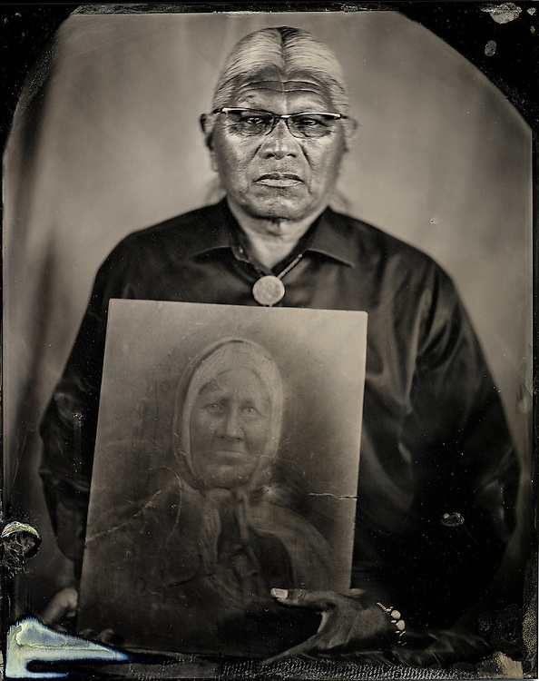 Will Wilson, John Gritts, Citizen of the Cherokee Nation, U.S. Dept. of Education, Indian Education Expert, with an Image of his Great-great grandmother, Dockie Livers, Survivor of the Trail of Tears, 2013, printed 2018, Archival pigment print from wet plate collodion scan, 22 x 17 in. Art Bridges.