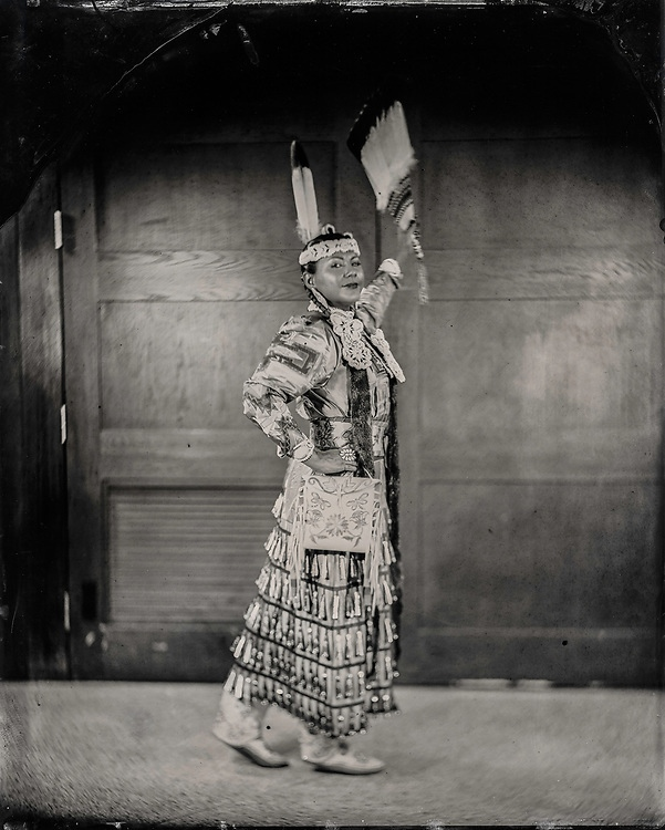 Will Wilson, Madrienne Salgado, Jingle Dress Dancer/Government and Public Relations Manager for the Muckleshoot Indian Tribe, Citizen of the Muckleshoot Nation, 2017, printed 2018, Archival pigment print from wet plate collodion scan, 22 x 17 in. Art Bridges.