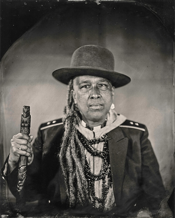 Will Wilson, Storme Webber, Artist/Poet, Sugpiaq/Black/Choctaw, 2018, Archival pigment print from wet plate collodion scan, 22 x 17 in. Art Bridges.