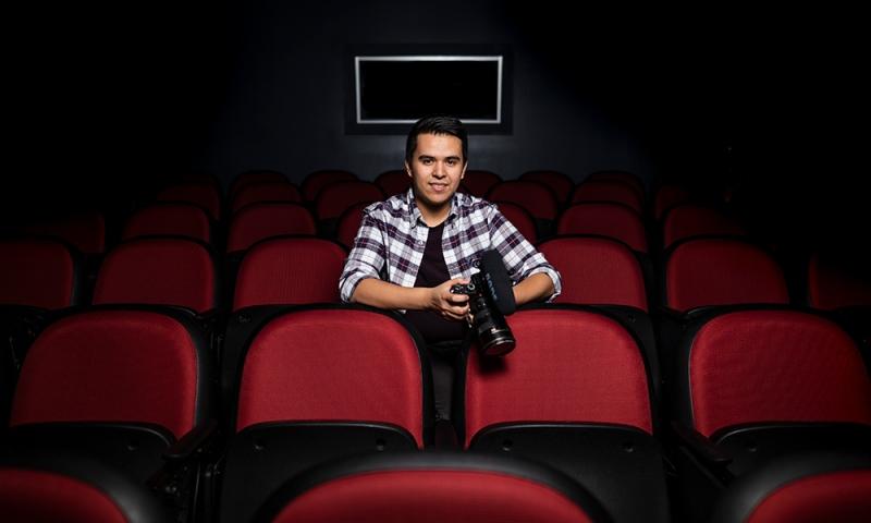 Alex Lopez in the Screening room