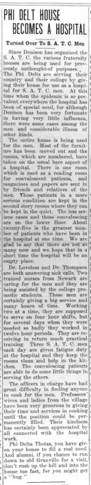 """Newspaper clipping: """"Phi Delt House Becomes a Hospital"""""""