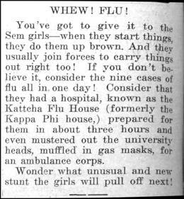 "Newspaper clipping: ""Whew! Flu!"""