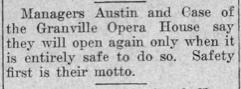 """Newspaper clipping: """"Granville Opera House"""""""