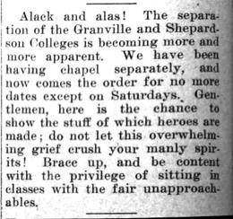 """Newspaper clipping: """"Separation of Granville and Shepardson Colleges"""""""