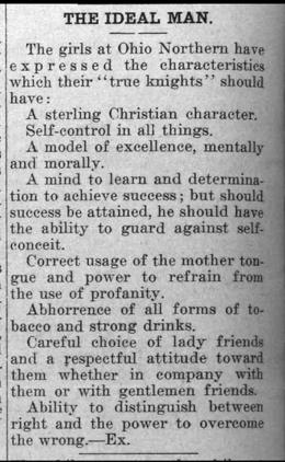 """Newspaper clipping: """"The Ideal Man"""""""