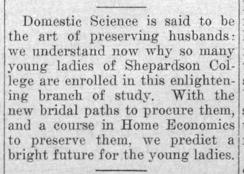 """Newspaper clipping: """"Domestic science"""""""