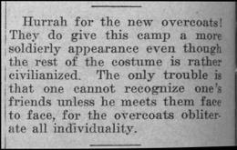 """Newspaper clipping: """"Overcoats"""""""