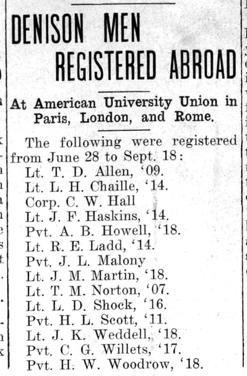 "Newspaper clipping: ""Denison Men Registered Abroad"""