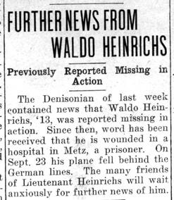 """Newspaper clipping: """"Further News from Waldo Heinrichs"""""""