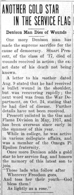 """Newspaper clipping: """"Another Gold Star in the Service Flag"""""""