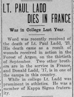 "Newspaper clipping: ""Lt. Paul Ladd Dies in France"""