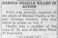 """Newspaper clipping: """"Harold Chaille Killed in Action"""""""