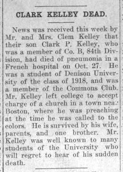 "Newspaper clipping: ""Clark Kelley Dead."""