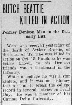 """Newspaper clipping: """"Butch Beattie Killed in Action"""""""