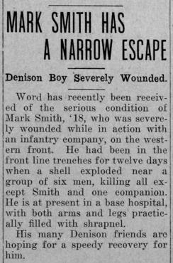 """Newspaper clipping: """"Mark Smith Has a Narrow Escape"""""""