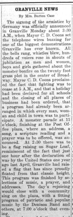 """Newspaper clipping: """"Granville News"""""""