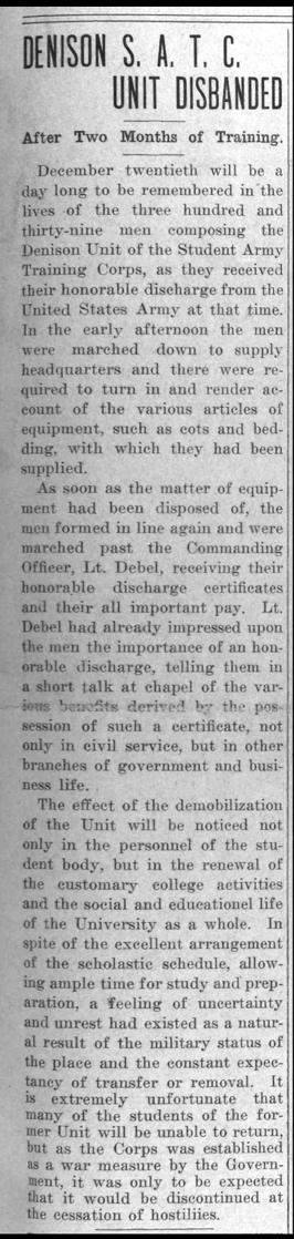 """Newspaper clipping: """"Denison S.A.T.C. Unit Disbanded"""""""