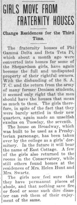 """Newspaper clipping: """"Girls Move From Fraternity Houses"""""""