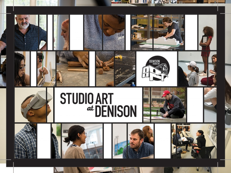 Front of a post card that reads 'Studio Art at Denison' with images of studio art students and professors in the classroom