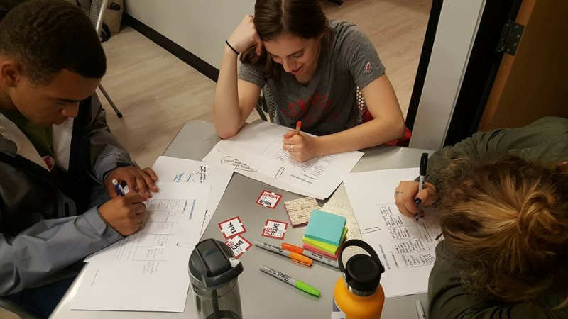 Students in a design thinking workshop
