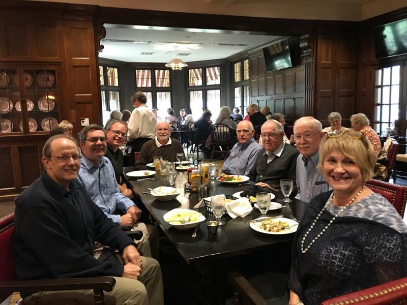 Current and emeriti Denison physics professors eating lunch at the Granville Inn