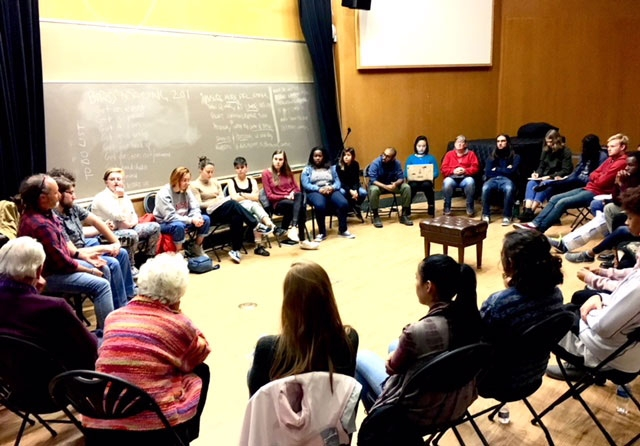 Students in a discussion circle