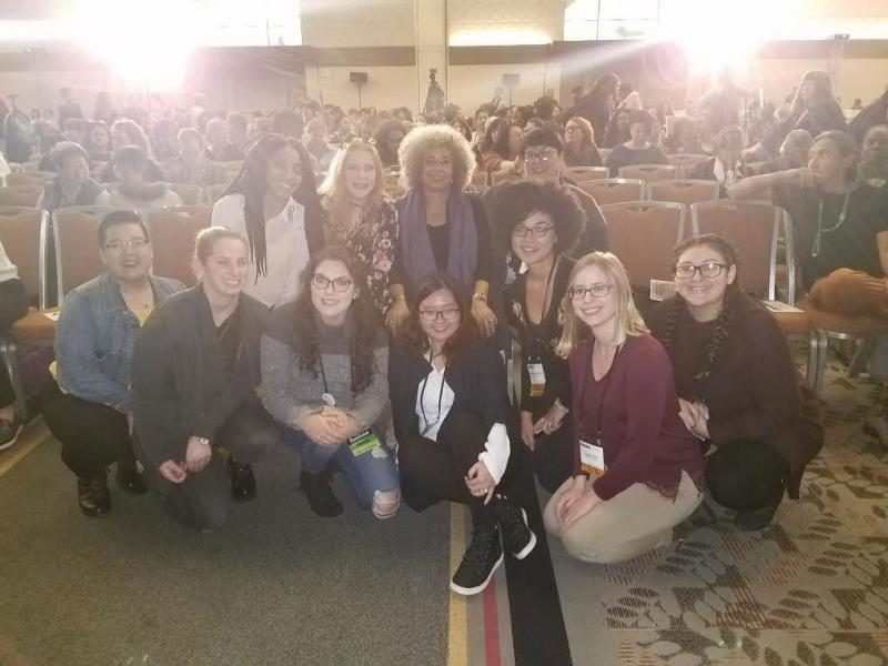 students are pictured with Angela Davis