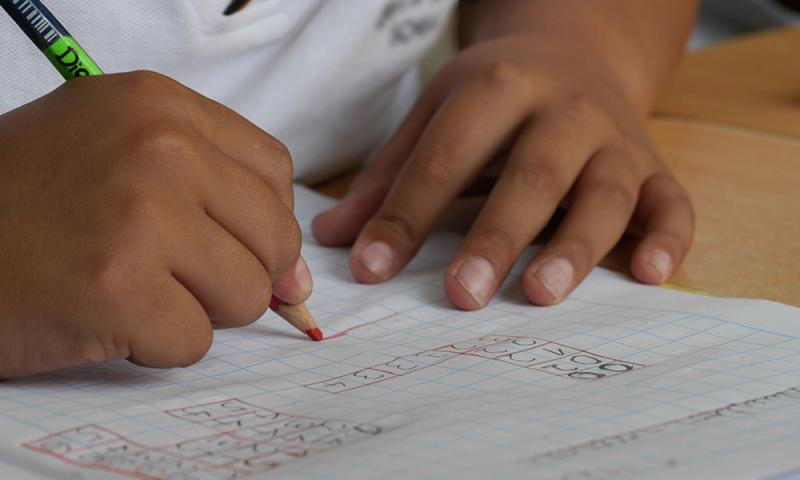 child doing math
