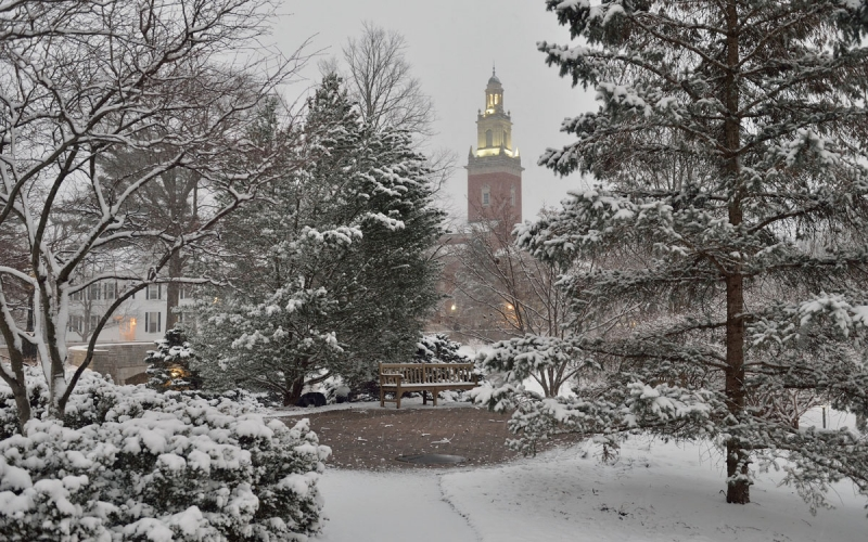 Snowy Day with Swasey Chapel in the Distance
