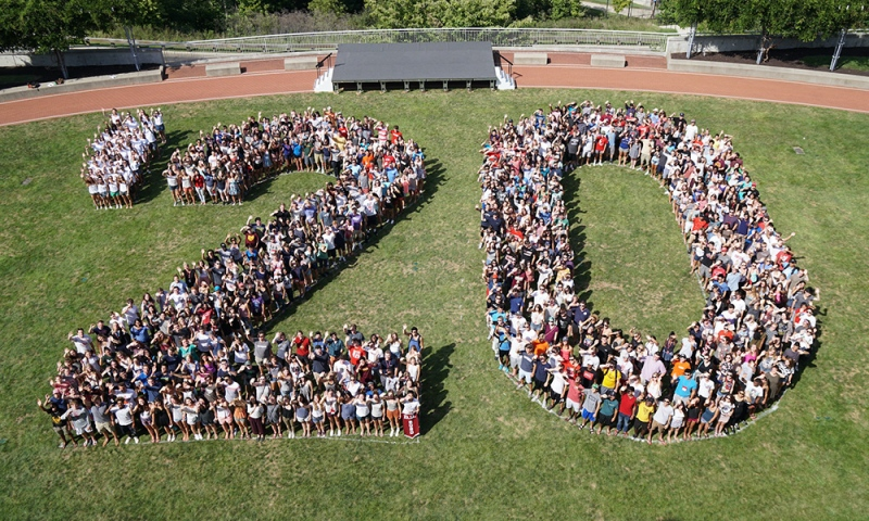 Class of 2020 assembled on the commons
