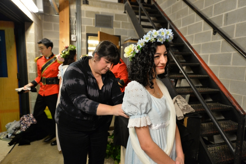 Meg Odell getting ready back stage