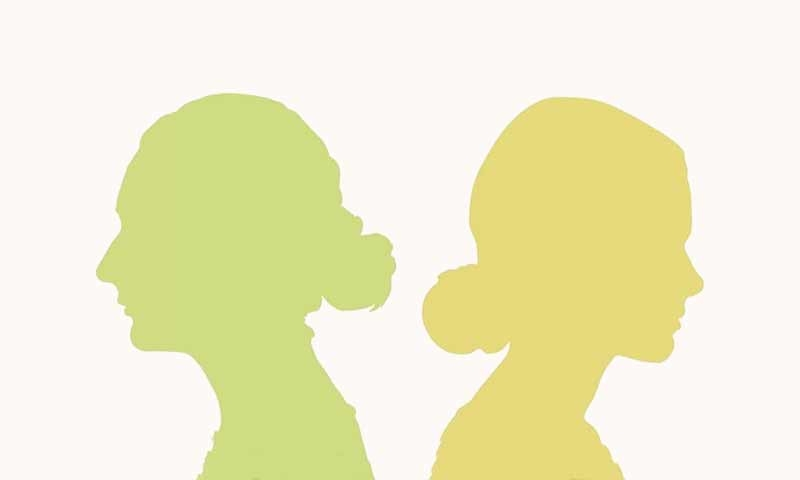 A green and yellow silhouette facing left and right