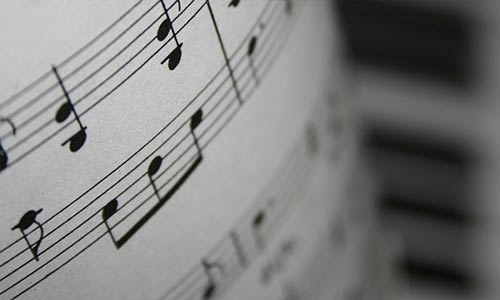 A close-up photo of sheet music