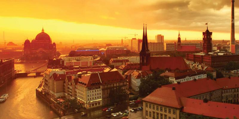 city line at sunset in berlin