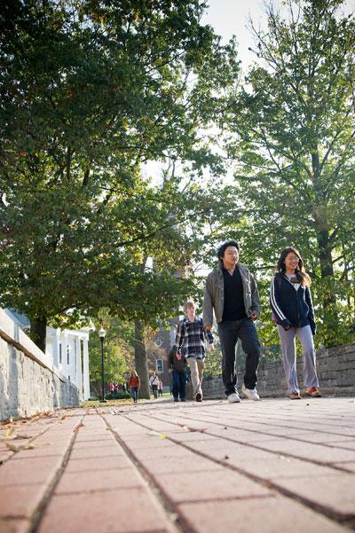 Students on Denison campus