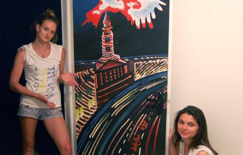denison students with art