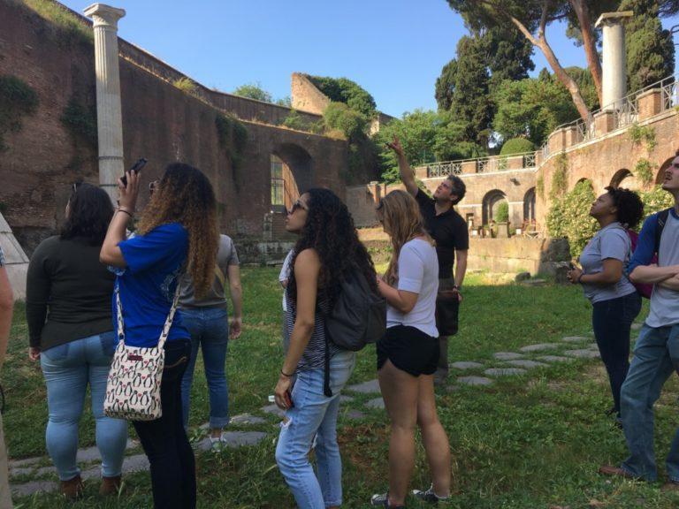 Students looking at ruins