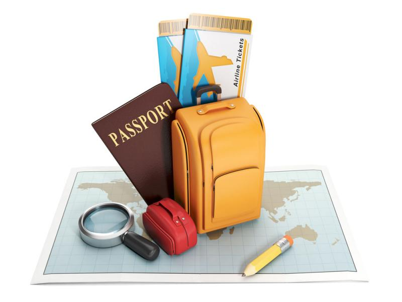 Map, passport, suitcase, boarding passes, magnifying glass, and pencil.