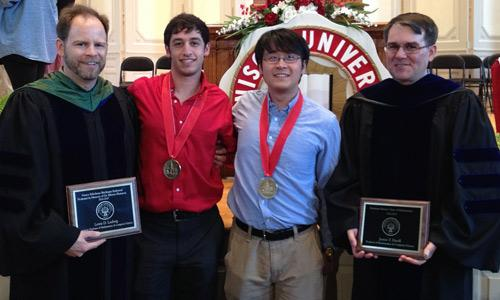 "Mathematics majors Yubo ""Paul"" Yang '14 and Danny Persia '14 were awarded Denison's highest honor at the Academic Awards Convocation"