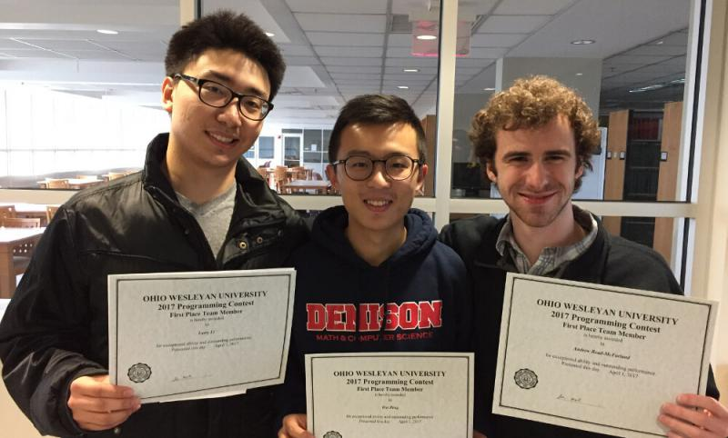 OWU Programming Contest student with awards