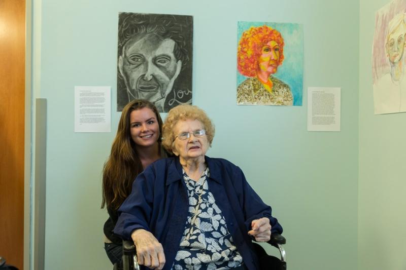 Female Student with Female Flint Ridge Nursing and Rehabilitation Center Resident