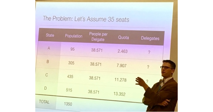 Jake Tawney '00 recently gave an engaging presentation interweaving the history, mathematics, and politics that lead to this particular number that is so important to our democracy.