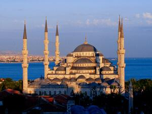 the blue mosque at sunse
