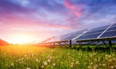 Purple sunset in a field with solarpanels
